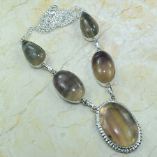 """Handmade Natural Fluorite Gemstone 925 Sterling Silver Necklace 20.5"""" #A45822"""