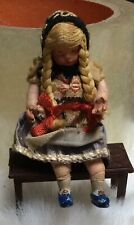 4� Antique Clay Face & Hands Girl Dollhouse Doll - Bisque Feet