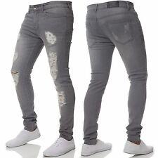 New ENZO Designer Mens Super Stretch Skinny Jeans Ripped Distressed Blue Black