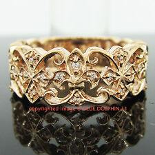 Real Genuine Solid 9K Rose Gold Engagement Wedding Ring Dress Simulated Diamonds