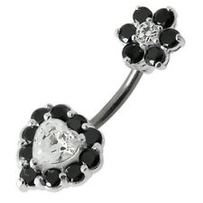 925 Sterling Silver Jeweled Heart with Flower Spinal Belly Button Ring