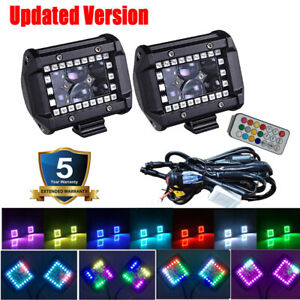 """Pair 4"""" 60W Led Work Light Bar Spot Fog Pods RGB Halo Color Changing Chasing Kit"""