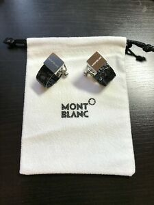 Montblanc black crocodile leather Contemporary cufflinks 38386, 38087