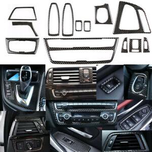 13PCS Luxury Carbon Fiber Interior Trim Decor Cover For BMW 3 4 Series F30 F34