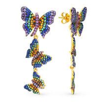 NEW Russian Earrings Yellow gold Silver fine jewelry animal butterfly stud 7.5g