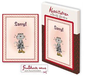 Glückwunschkarte SORRY mit 70gr Vollmilchschokolade Kunstgrußkarte