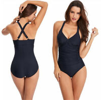 Women's Front Shirred Ruched Solid One Piece Swimsuit Bathing Suit Swimwear