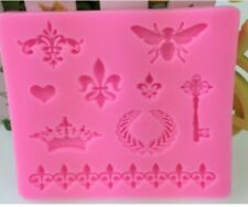 Crown Fleur De Lis Heart Fondant Cake Silicone Mold Cupcake Decorating Tools