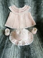 Hand Crochet baby dress, summer hat and ballet style shoes 0-3 months