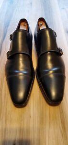 Nice Magnanni Neiman Marcus Men's  Double Monkstrap Black  Shoes 19586 11M