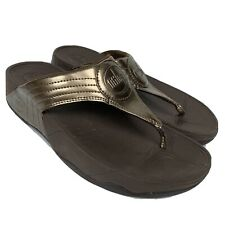 FITFLOP Brown Metallic Bronze Patent Thong Women's Sandals Size 7