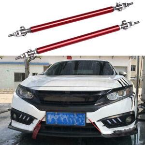 "8""-13"" Red Adjust Front Bumper Lip Splitter Strut Rod Support Tie Bars For Honda"