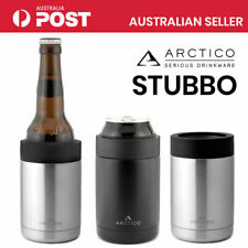ARCTICO Stubby Holder fits 375ml Cans & Beer Bottles Stainless Steel Double Wall