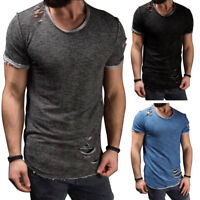 Men's Slim Fit O Neck Short Sleeve Muscle Tee Ripped T-shirt Casual Tops Hot