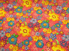 Pink Hippie Flower Power Floral Imprimé Peachskin robe tissu.