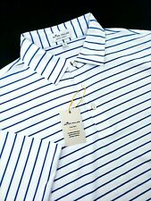 Peter Millar Crown Sport Summer Comfort Stretch White Blue Striped Polo Shirt