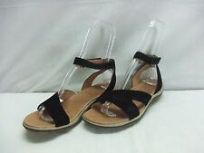 """Acorn """"Vista Ankle"""" Black Suede Leather Light Weight Sandals~Comfortable~11 M~a1"""