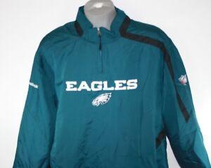 NEW Mens NFL Reebok Philadelphia EAGLES Lightweight 1/4 Zip Green Wind Pullover