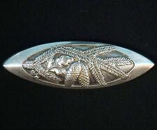 "2.5"" Antique German Art Nouveau 800 Silver Hunt Brooch Pine Cone Decor Relief"