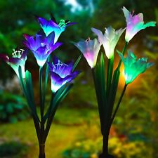 LED Solar Decorative Lights for Garden Patio Backyard 8 Lily Flower Multi-color