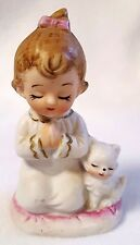 "Vintage Girl Figurine Praying With White Cat Pink Gold Trim Ceramic 3.25"""