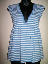 Women's ABERCROMBIE & FITCH Blue & White Striped Top - Size - M ~~NWOT