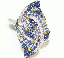 4.05CT 18K GOLD NATURAL SAPPHIRE ROUND WHITE DIAMOND ENGAGEMENT RING VINTAGE