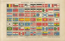 Flaggen der Seestaaten Signalflaggen Reedereiflaggen Persien Brockhaus 2038