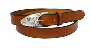 Leather Belt with Sterling Silver Bonefish Buckle