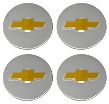 "4Pcs Wheel Center Caps Chevy Bow Tie Emblem Logo Silver 2 1/4"" 58mm 2.25 inch"