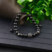 Charm Men Bright Agate Zircon Micro Pave Black Round Beaded Adjustable Bracelets