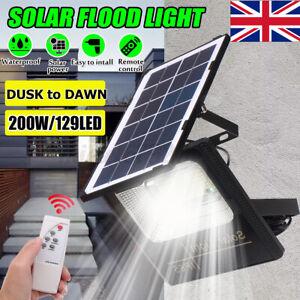 200W Solar Powered Outdoor 129 LED Floodlight Garden Flood Security Light Lamp