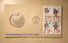 1975 Bicentennial FDC with Medallion Continental Army, Navy & Marines, Militia