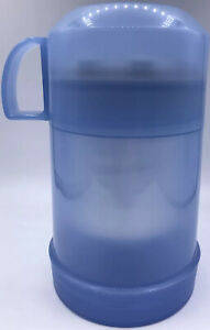 THERMOS 10oz Food Jar BLUE Plastic Wide Mouth Filler 70F Screw Top Lid Hot Cold