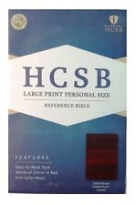 HCSB Large Print Personal Size Reference Bible, Saddle Brown Leather Touch Index
