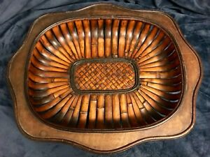 """Vintage MCM Bamboo Slatted Curved Wood Footed Tray Lovely Patina 18"""" D"""