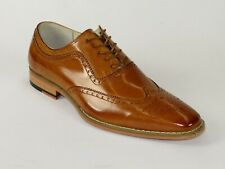 Men Leather Dress Shoes GIOVANNI Oxford Wingtip toe European Ferrara Tan Cognac