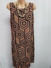 TARGET SMART ELEGANT CASUAL BROWN BLACK GEOMETRIC DRESS SIZE 16