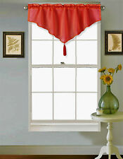 1PC SOLID ROD POCKET FAUX SILK WINDOW ASCOT VALANCE SWAG TOPPER W/FRINGES VINCE