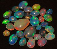 SUPER RAINBOW FLASHING FIRE PLAY NATURAL ETHIOPIAN WELO OPAL SLICES 12.25CT 30PC