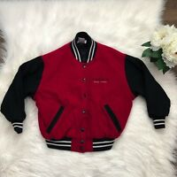 Girls Small American Girl Store New York Varsity Jacket Red Black Snap Button