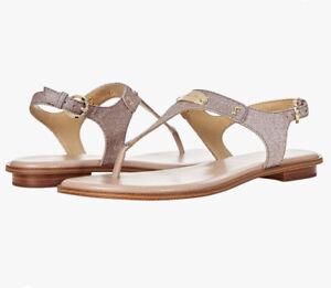 WMN MK Michael Kors Plate Thong Buckle Up Flat Sandals Pixie Shimmer Soft Pink