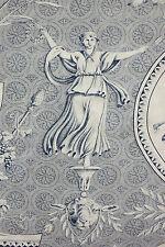 Fabric Blue Toile de Jouy Pallas et Venus Huet design Roller Printed Textile