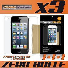3pz PELLICOLA per IPHONE 5 FRONTE + RETRO + PANNO Protettiva Display per APPLE