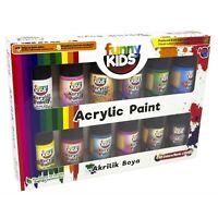 Funny Kids Acrylfarben Set für Kinder | Auf Wasserbasis | 12 Farben x 20 ml