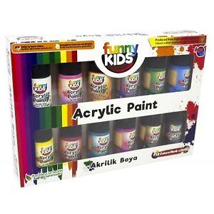 Funny Kids Acrylfarben Set für Kinder   Auf Wasserbasis   12 Farben x 20 ml