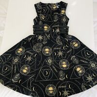SPIN DOCTOR Womens Dress Sz L Steampunk Gothic Occult Black Gold Leather Belts