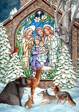 New listing Christmas Winter Nativity Religious Bear raccoon fox rabbit Wolf Sm Toland Flag