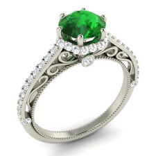 Certified 1.65 Ct Emerald & Real SI Diamond 14k Solid White Gold Engagement Ring