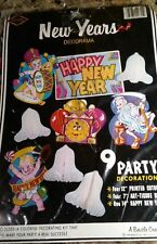 Vintage 1983 Beistle No. 22355 (9) Packaged New Years Decorama Cutouts N.O.S.
